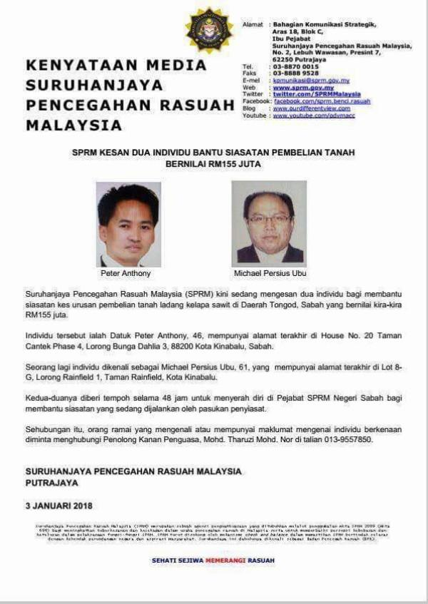 Siapa Terjumpa Naib Presiden Warisan Sabah, Peter Anthony Sila Maklumkan Kepada SPRM
