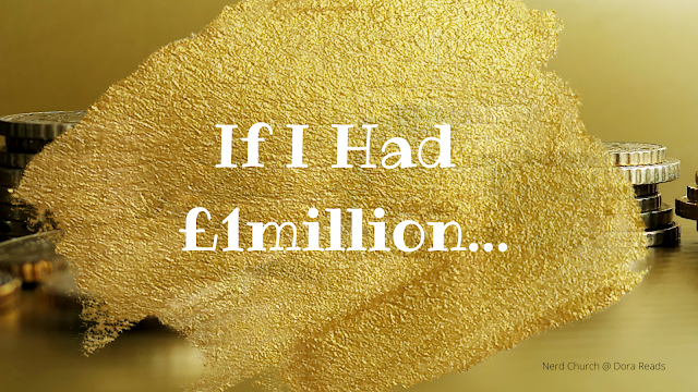 'If I Had £1million...' against a gold paint/glitter splotch, in front of a background of gold coins