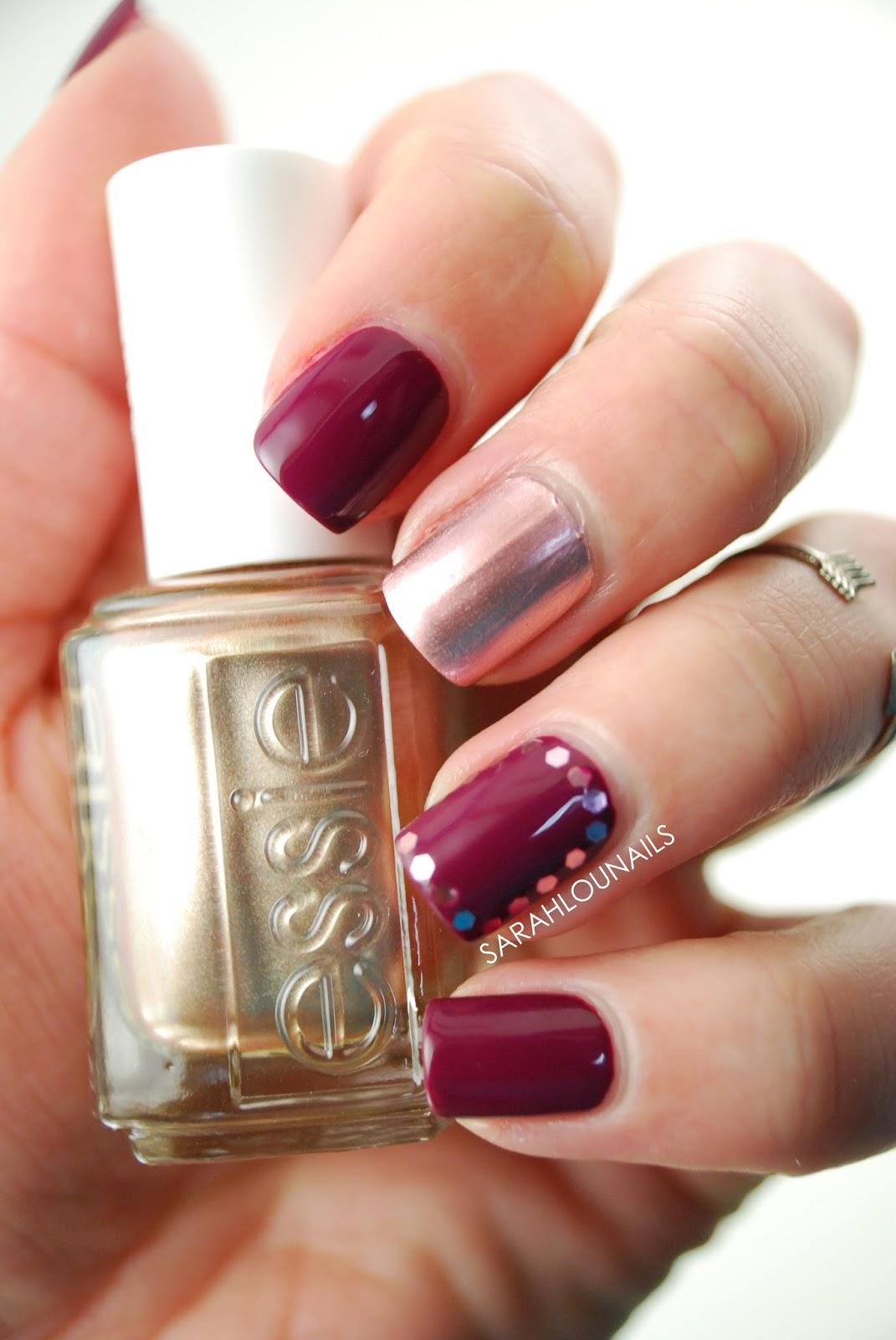 Sarah Lou Nails: Maroon & Rose Gold Nails