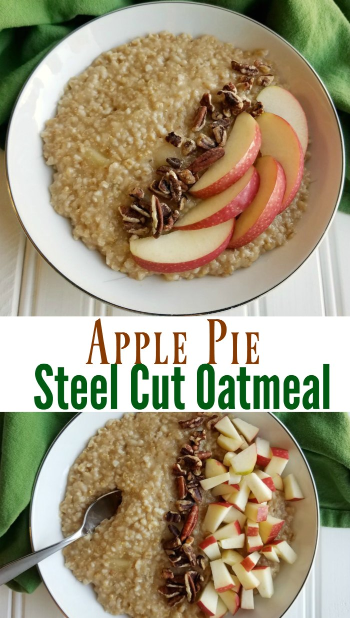 Apple pie steel cut oatmeal is the perfect fall breakfast. It is loaded with apple goodness and a bit of cinnamon. Bonus: Your house will smell absolutely amazing while it cooks!
