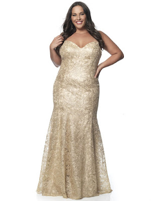 Sweetheart Blush Plus Size Prom Gold Color Dress