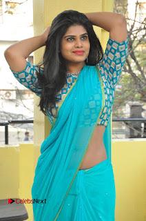 Telugu Actress Alekhya Stills in Green Saree at Swachh Hyderabad Cricket Press Meet  0031.JPG