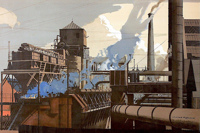 Norman Wilkinson poster art of a steaming factory