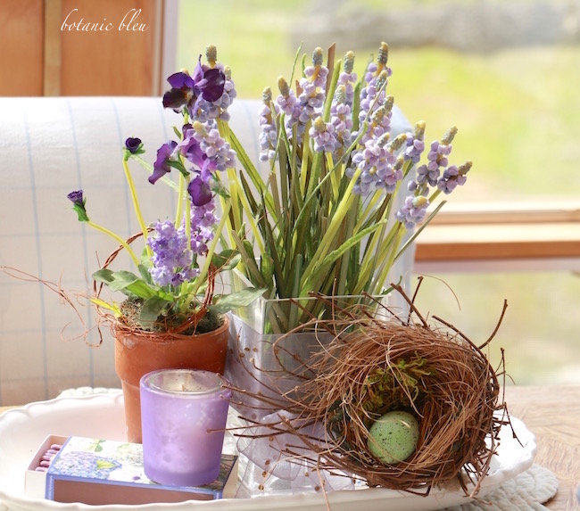 purple-pansy-and-muscari-with-birds-nest-centerpiece-for-early-spring-table