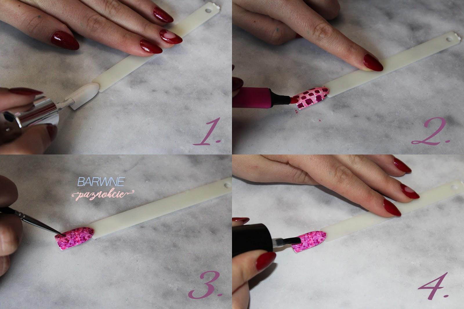 Sharpie Effect step by step - krok po kroku zdobienie - manicure hybrydowy