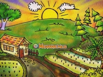 mewarnai pemandangan desa dengan crayon