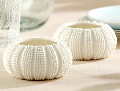 White Urchin Tea Light Candle Holders