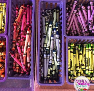 Crayons sorted by color - flexible seating