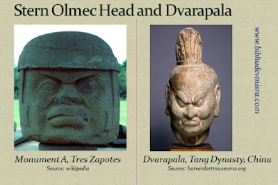 An Olmec stone head and Dvarapala (door-guardian) with a stern expression