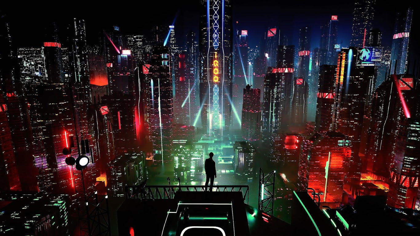 Sci Fi Wallpaper Iphone 6 Sci Fi Night City Cityscape Buildings Digital Art 4k