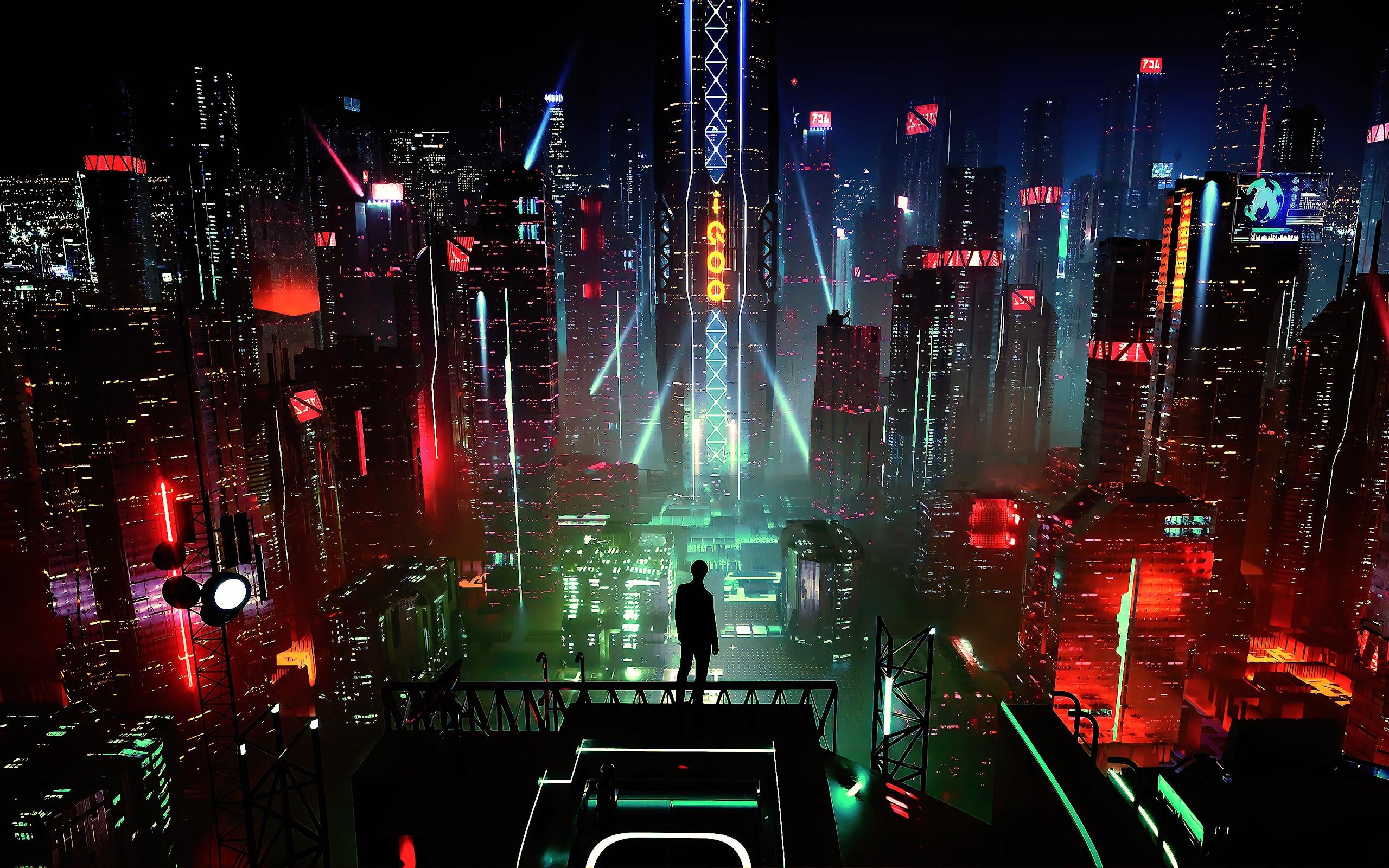 Sci Fi Night City Cityscape Buildings Digital Art 4k