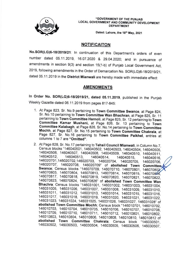 DEMARCATION OF TEHSIL COUNCILS AND ABOLISHED TOWN COMMITTEES OF DISTRICT MIANWALI