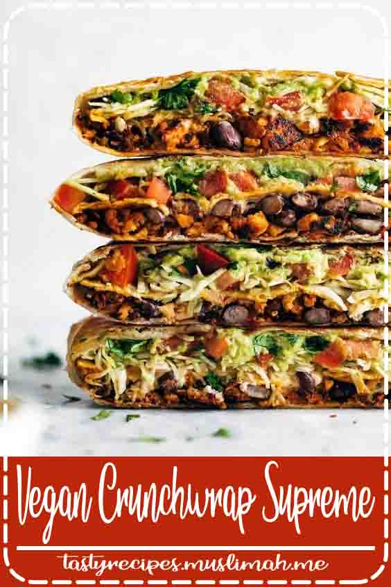 This vegan crunchwrap is INSANE! Stuff this bad boy with whatever you like - I made it with sofritas tofu and cashew queso - and wrap it up, fry, and devour! Favorite vegan recipe to date. #vegan #veganrecipe #crunchwrap #vegancrunchwrap #sofritas #cashewqueso