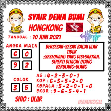 Syair Dewa Bumi HK Kamis 10-Juni-2021