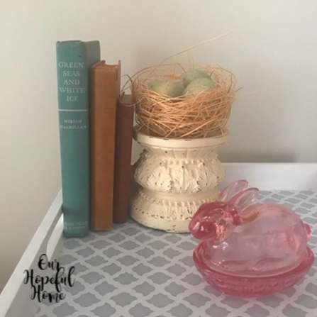 pink depression glass rabbbit candy dish vintage books