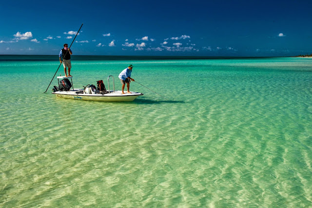 Pêche sur une plage aux iles Caimans