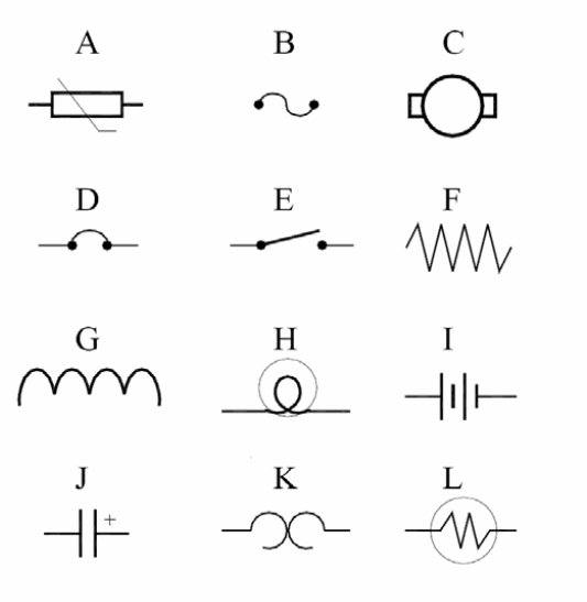 basic electrical circuits nts based short multiple choice questions10 refer to figure on the reference sheet which drawing is the electrical symbol for a source of energy?