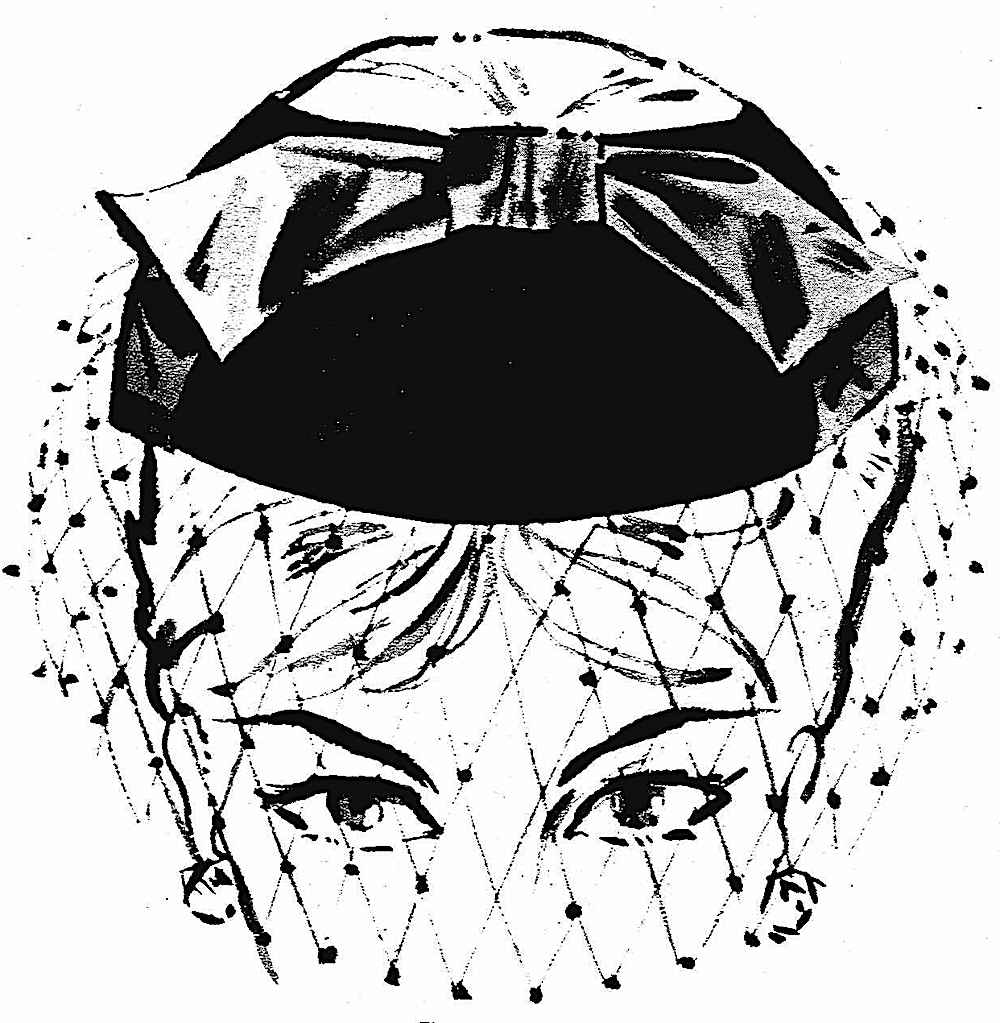 face-covering fashion in 1959, an illustration of a hat with net