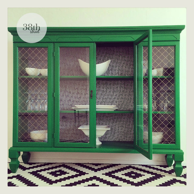 #fabflippincontest, Fab Flippin Contest, General Finishes, Emerald Green, Before and After, Hutch, hutch makeover, refinished hutch, geometric design, emerald buffet, emerald hutch