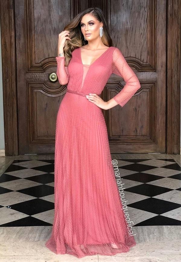 vestido longo rosa antigo em tule de poas para madrinha de casament