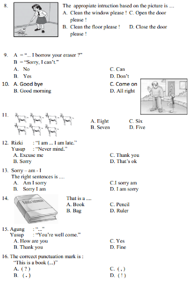 Contoh Soal dan Jawaban Latihan UAS / Ulangan Bahasa Inggris Kelas 4 Semester 1