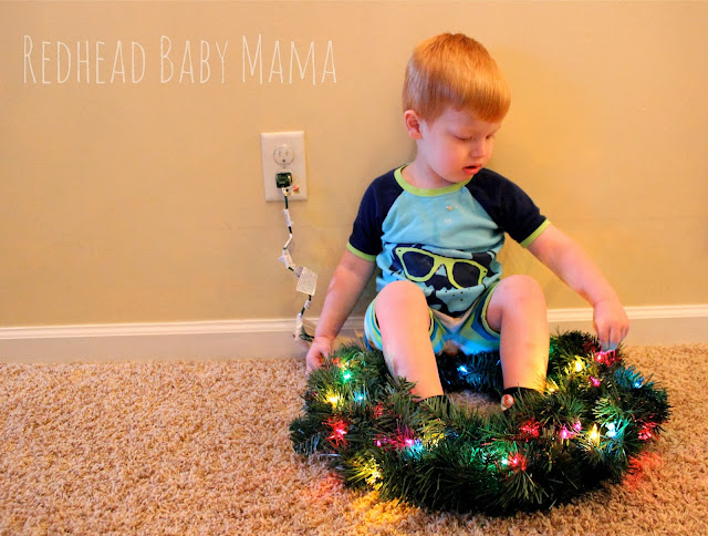 Red in a Christmas wreath - Redhead Baby Mama
