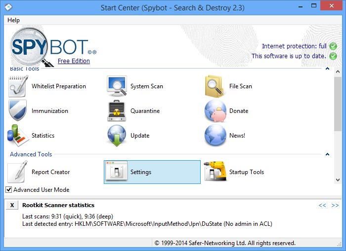 برنامج مجاني فعال للكشف عن وتدمير برامج التجسس والتهديدات الاخري Spybot - Search & Destroy 2.4