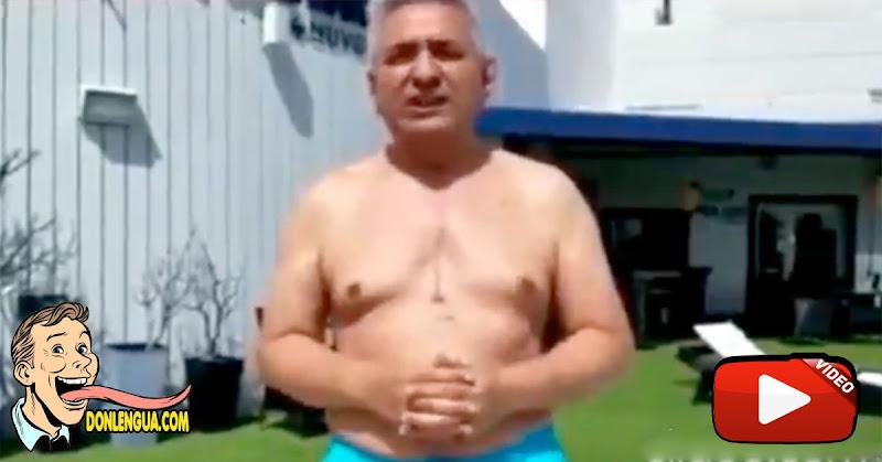 Pablo Medina se dio un chapuzón en su pequeña piscina en honor a Venezuela