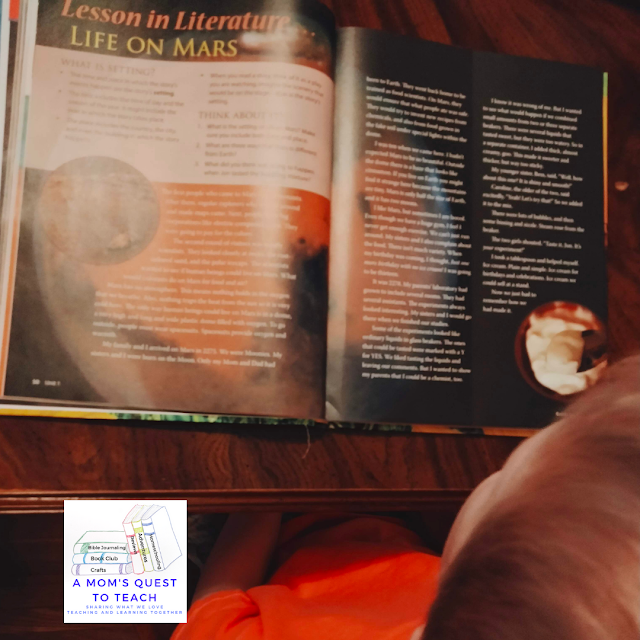 A Mom's Quest to Teach:  Building Reading Comprehension and Fluency Skills: A Review of Mosdos Press Literature - Opal - Life on Mars in the Student Textbook