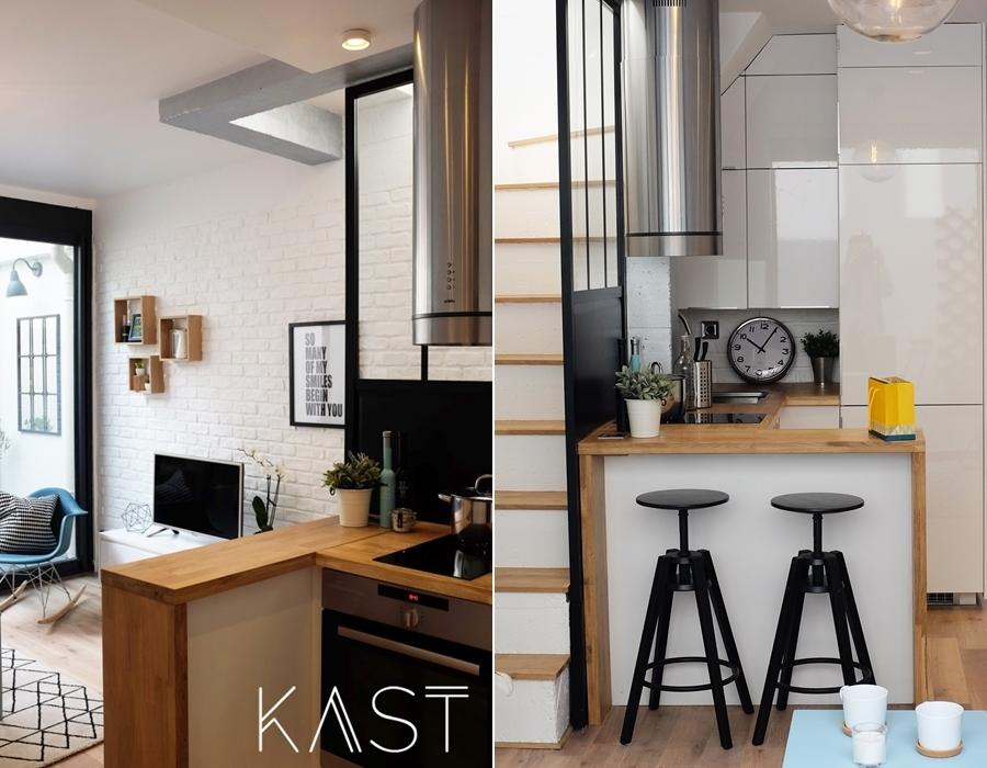 Mały apartament w stylu loftowym - wystrój wnętrz, wnętrza, urządzanie mieszkania, dom, home decor, dekoracje, aranżacje, styl loftowy, loft, styl industrialny, małe wnętrza, kawalerka, małe mieszkanie, otwarta przestrzeń, salon, living room, kuchnia, kitchen, aneks kuchenny, blat, stołek barowy