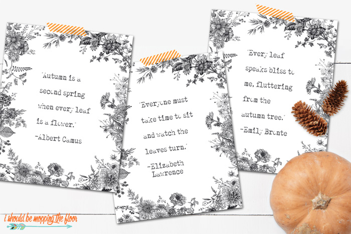 Black and White Printables for Fall