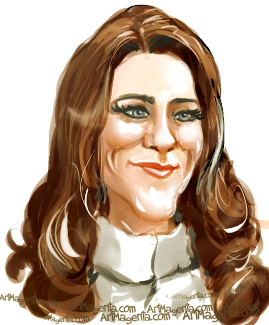 Kate Middleton  caricature cartoon. Portrait drawing by caricaturist Artmagenta