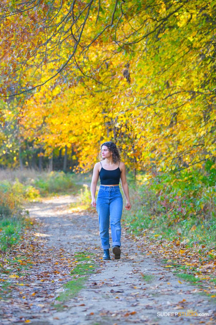 Ann Arbor Senior Pictures for Girls in Arboretum Nature Fall Colors by SudeepStudio.com Ann Arbor Senior Pictures Photographer