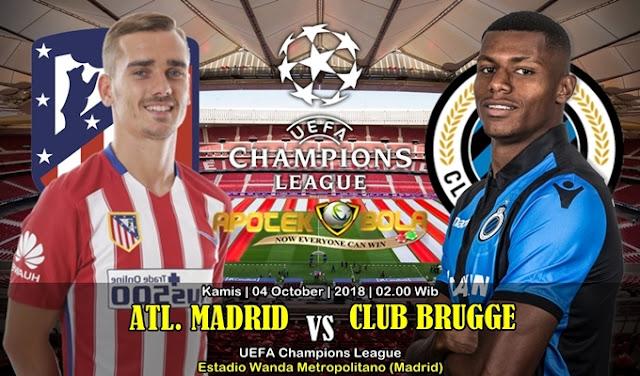 Prediksi Atletico Madrid VS Club Brugge KV 4 Oktober 2018
