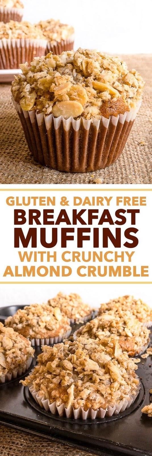 Gluten + Dairy Free Breakfast Muffins with Crunchy Almond Crumble