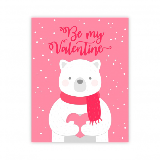 Valentines day greeting card with polar bear Free Vector
