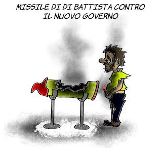 di battista, m5s, pd, dissidenti, nuovo governo, politica, vignetta, satira