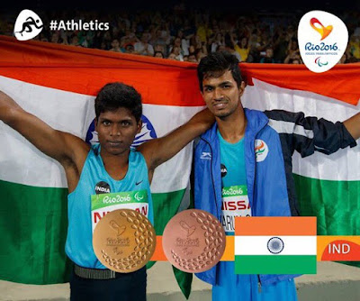 Two champions of India Mariyappan Thangavelu (Gold Winner) and Varun Singh Bhati (Bronze Winner) in Paralympic 2016.