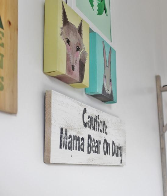 """How Cute! DIY """"Caution: Mama Bear on Duty"""" Wall Sign for Playroom"""