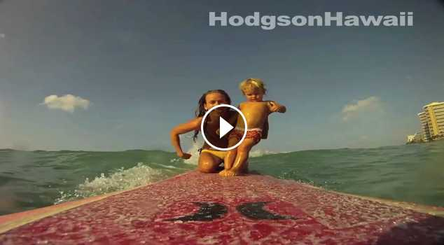 Surfing Baby 2 year old old Given Goodwin surfs Waikiki