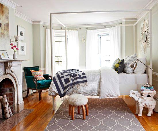 Velvet chair in bedroom
