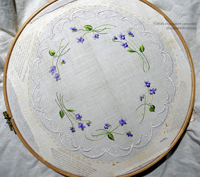 Embroidered Society Silk violets centrepiece complete and ready to cut out