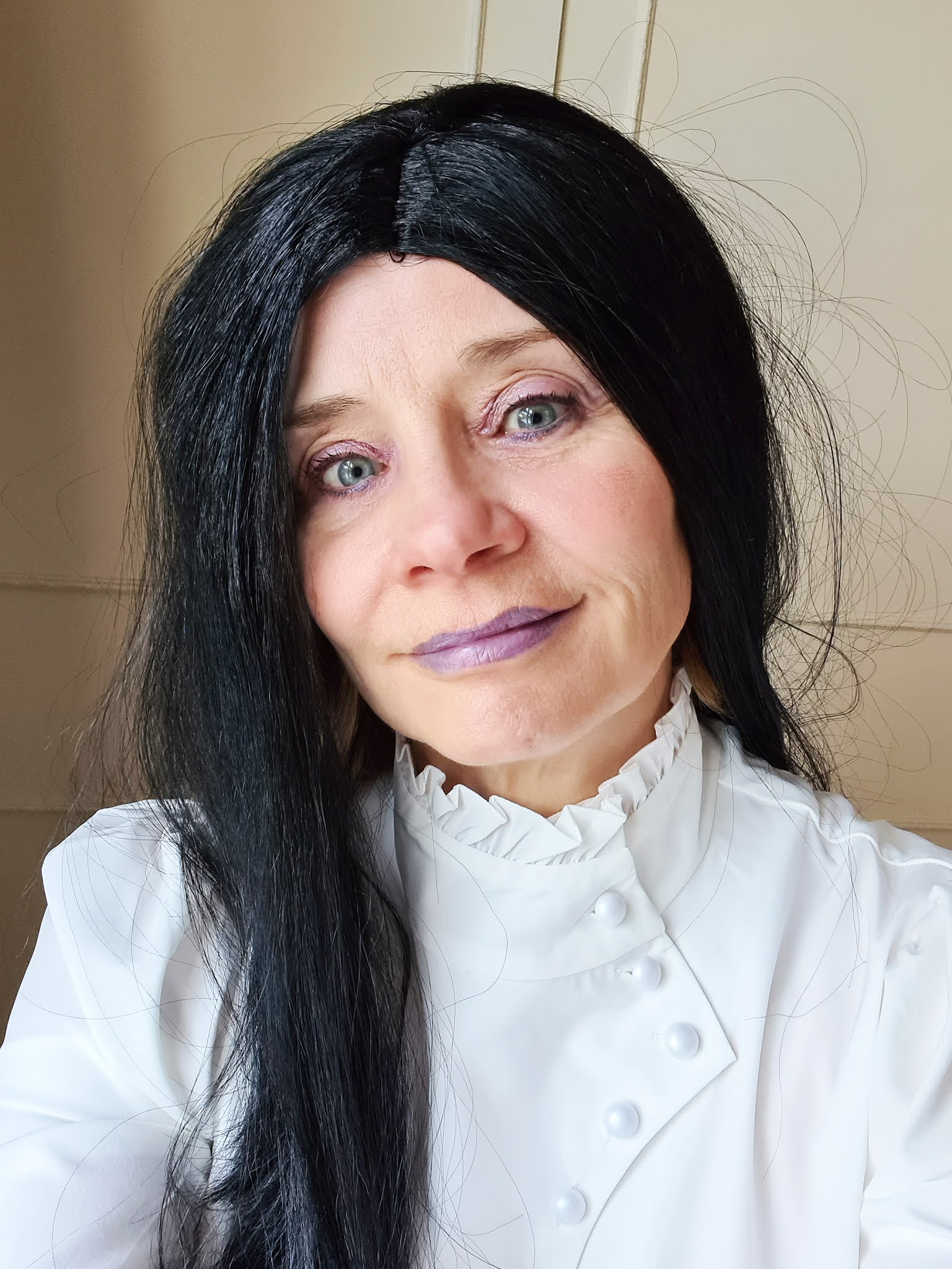 A different makeup look for the over 50s woman which would work for Halloween, here attempted by Is This Mutton blogger Gail Hanlon. Byredo colour stick in Purple Stinger used as a lipstick