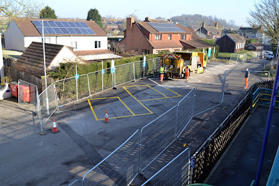 Car parking spaces being installed at Barnetby railway station near Brigg in February 2019 - see Nigel Fisher's Brigg Blog