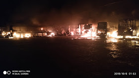 IMG 20191006 WA0009 - Jacobina: Incêndio atinge garagem da Empresa São Luiz e vários ônibus são destruídos