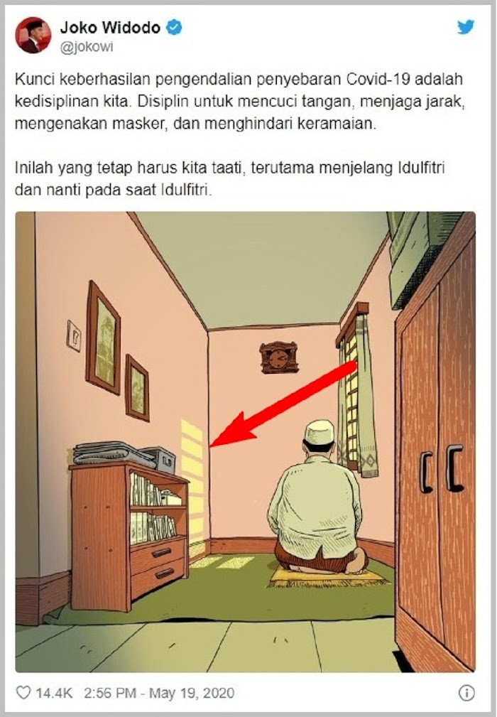 Netizen Geger! Postingan Twit Jokowi, Ilustrasi Orang Shalat Bukan Menghadap Kiblat, Tapi ke Selatan