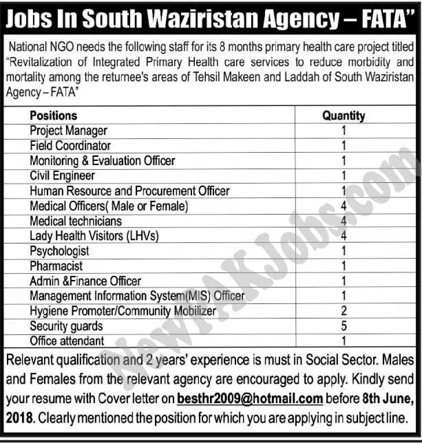 New Jobs in National NGO in South Waziristan Agency FATA May 2018