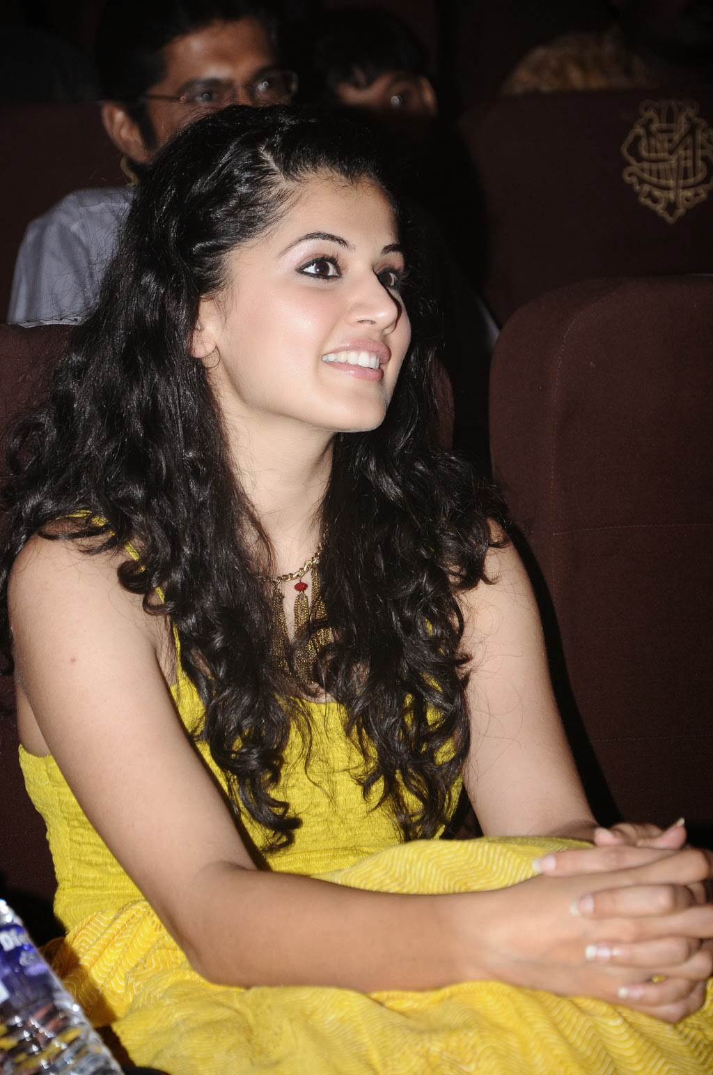 Tapsee Big Teeths Stills In Yellow Dress