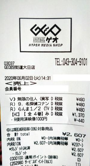 GEO ゲオ 四街道大日店 2020/6/2 のレシート