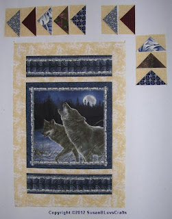 howling wolves panel quilt top in progress
